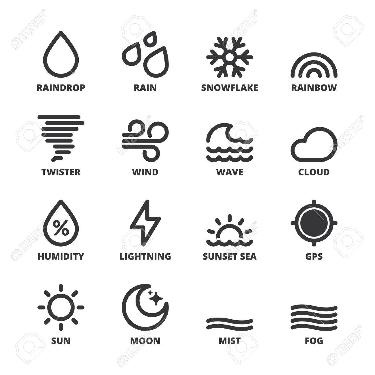 Set Of Black Flat Symbols About The Weather Forecast Symbols