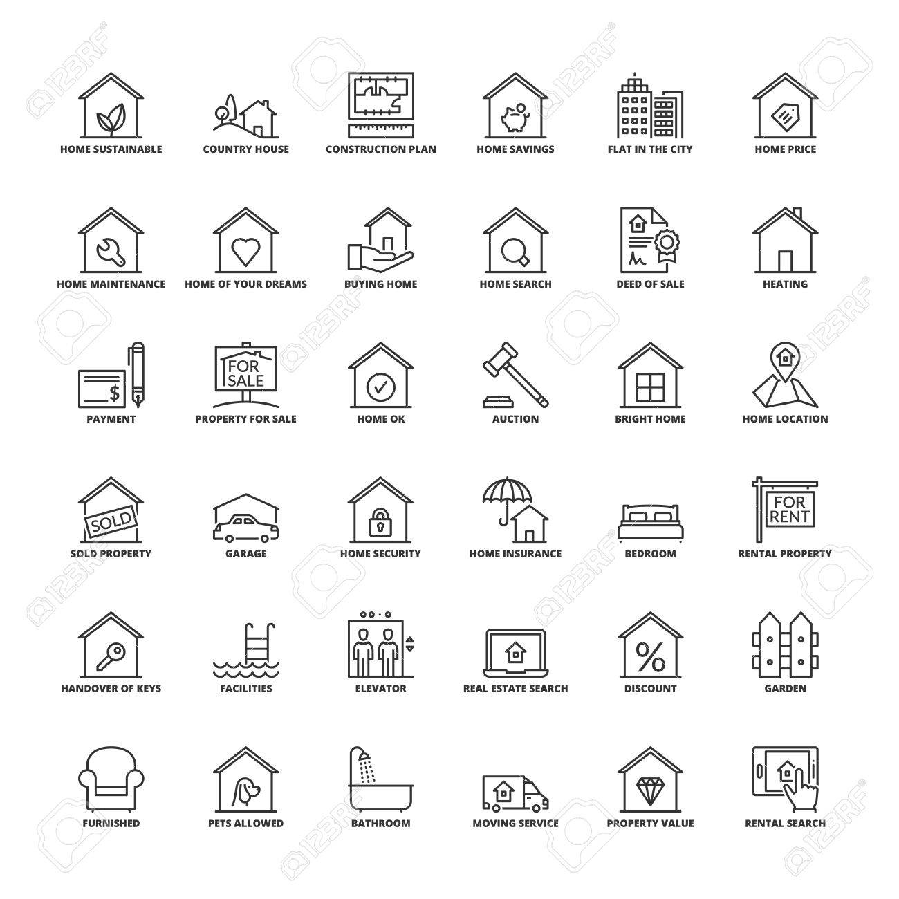 Outline icons set flat symbols about real estate royalty free flat symbols about real estate stock vector 70967591 biocorpaavc Image collections