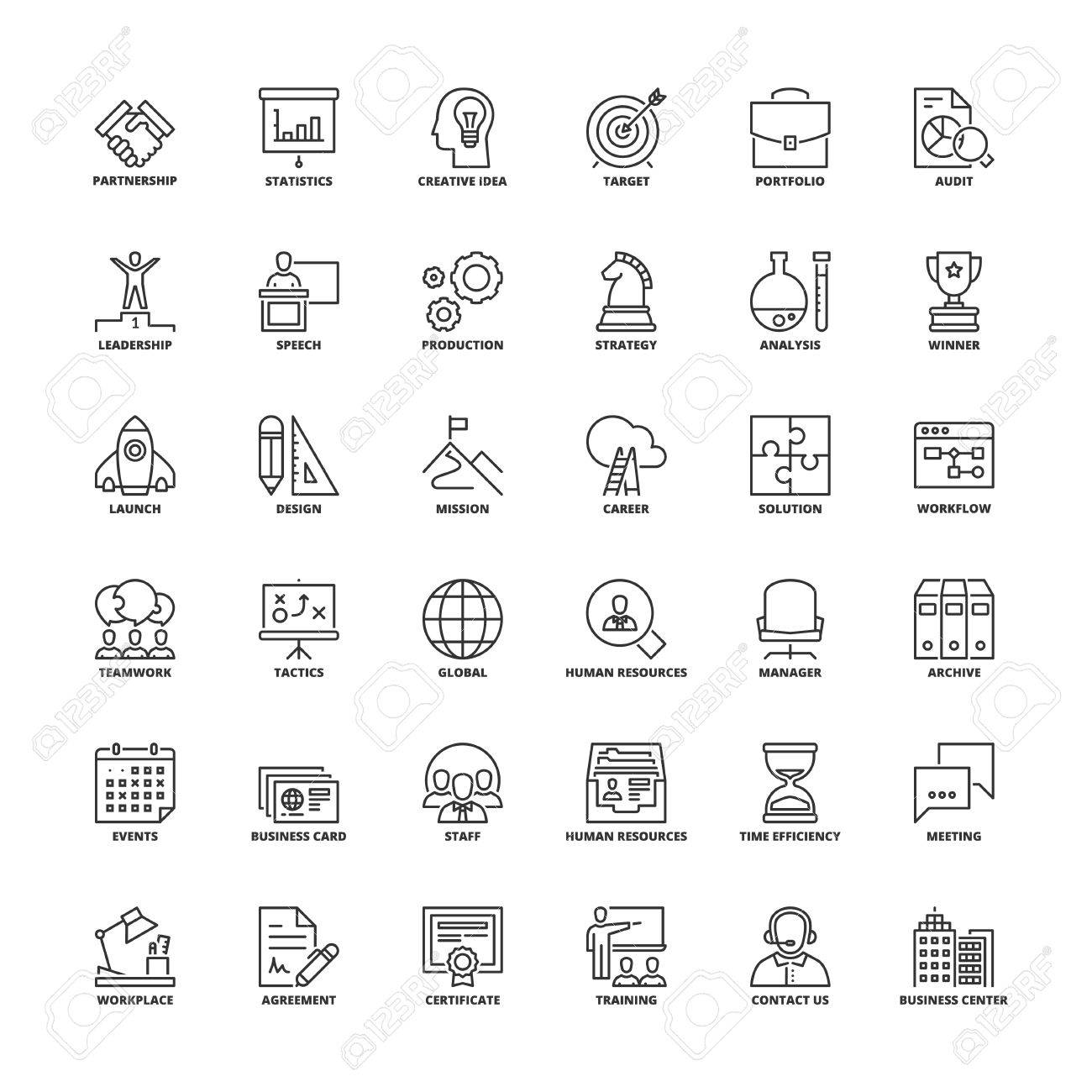 Outline Icons Set. Flat Symbols About Business Royalty Free Cliparts ...
