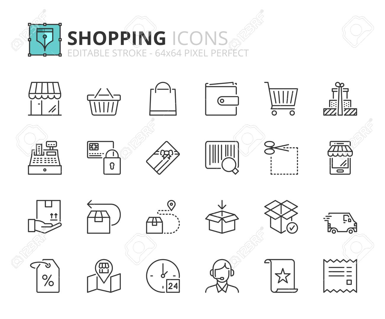 Outline icons about shopping  Editable stroke  64x64 pixel perfect