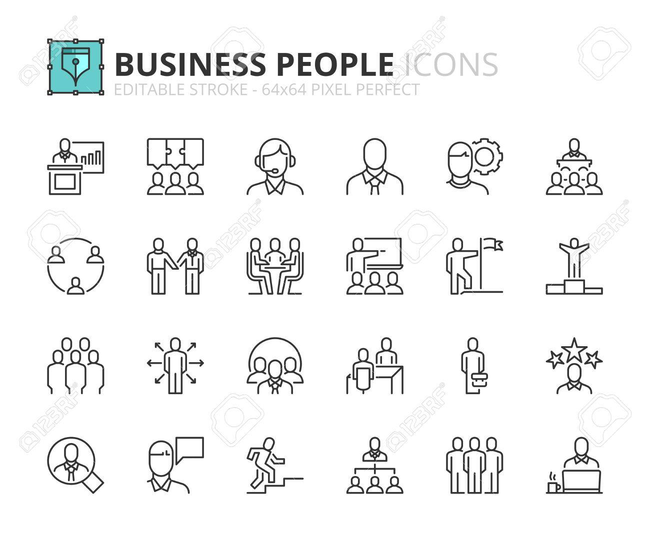 Outline icons about business people  Editable stroke  64x64 pixel
