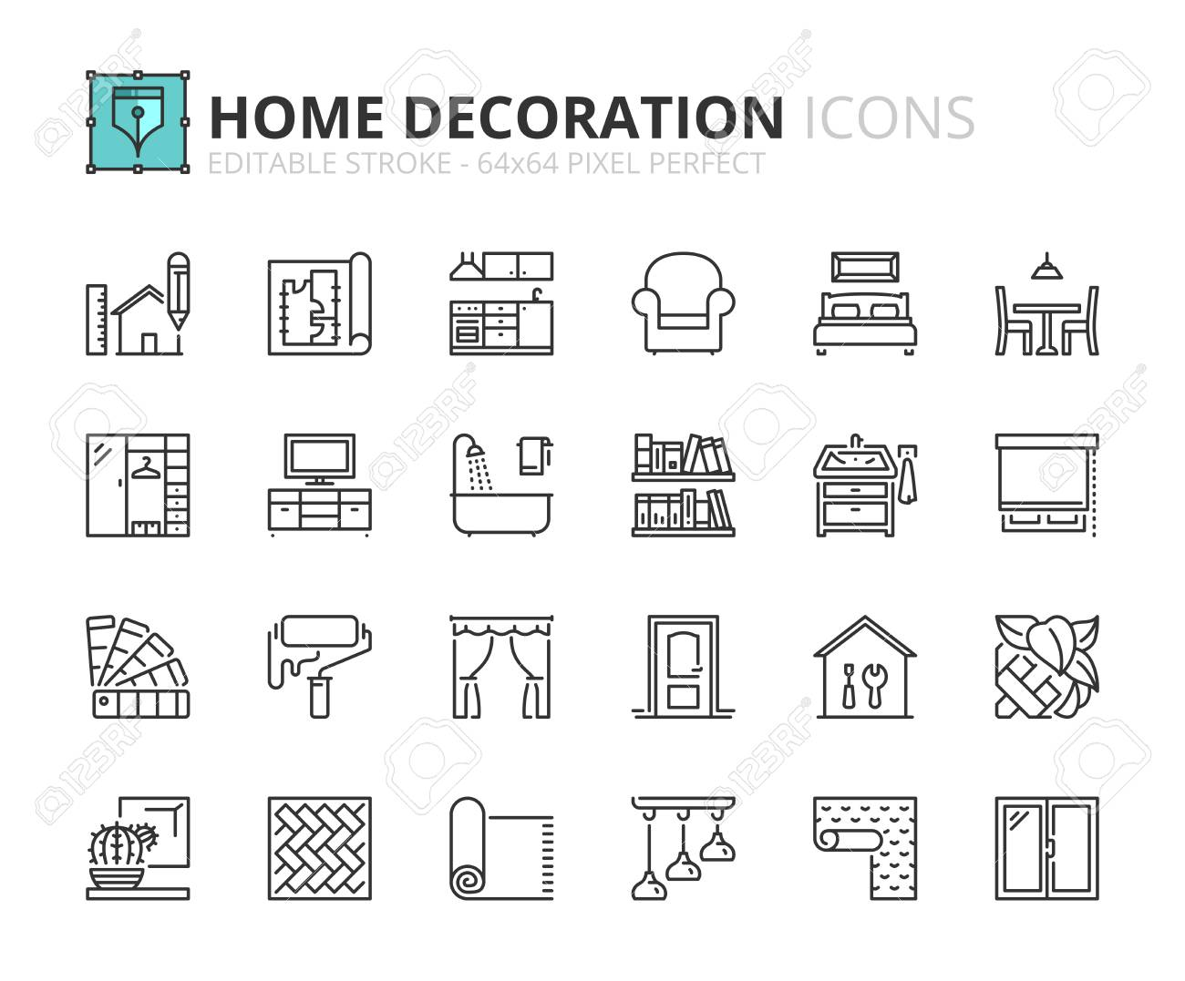 Outline icons about home decoration  Editable stroke  64x64 pixel
