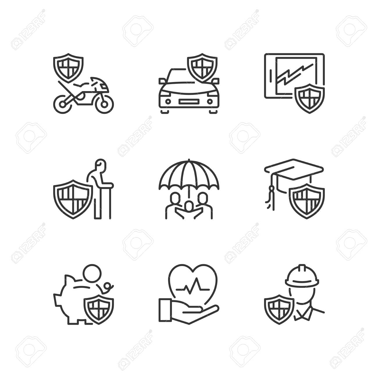 Outline icons about insurance - 122053193