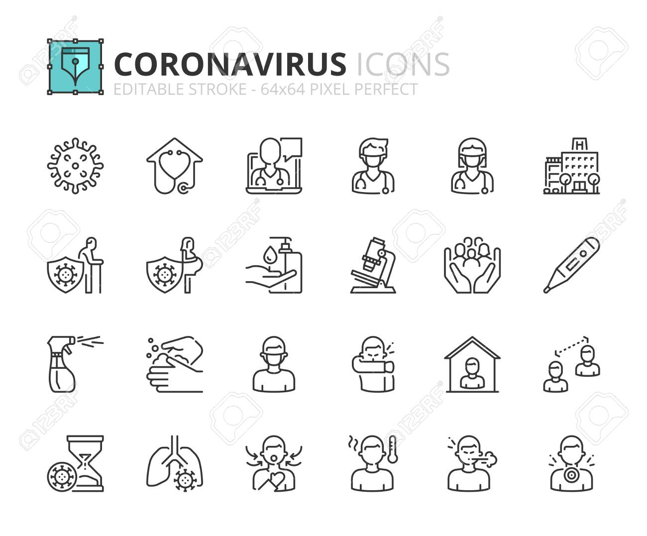 Outline icons about Coronavirus prevention and symptoms. Health care. Editable stroke 64x64 pixel perfect. - 144112766
