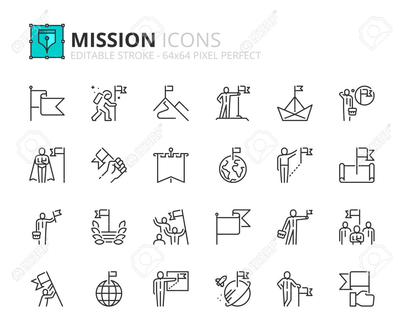 Outline icons about mission. Business concepts. Contains such icons as businessman with flag, achievement and goal. Editable stroke Vector 64x64 pixel perfect - 158671258