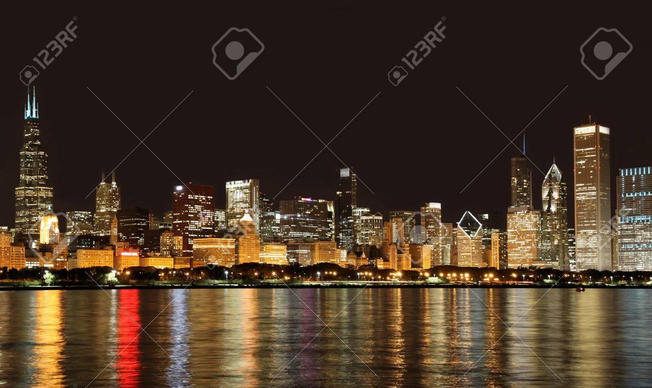 Chicago, USA, September 2010 - City skyline from Lake Michigan at night Stock Photo - 9889429