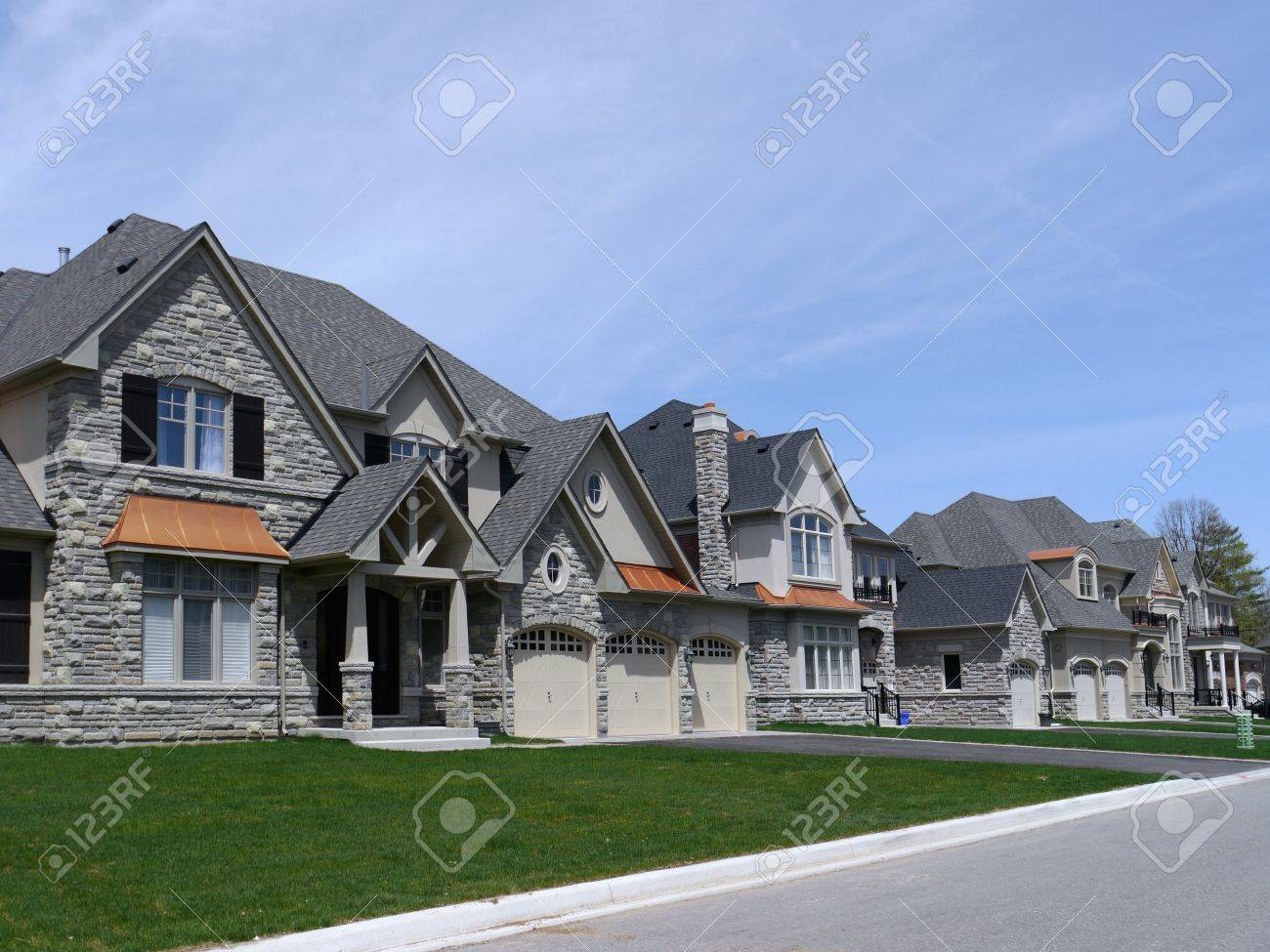 Chicago usa may 2011 suburban street with modern houses stock photo 9889452