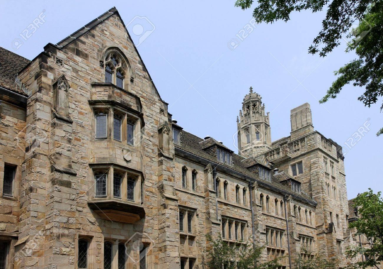 gothic style university building yale university stock photo
