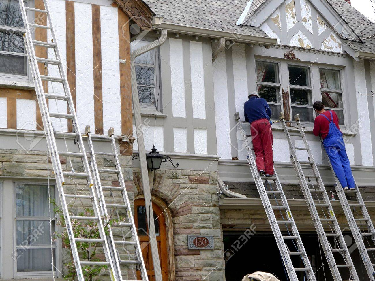 chicago usa september 2010 house painters refinishing an