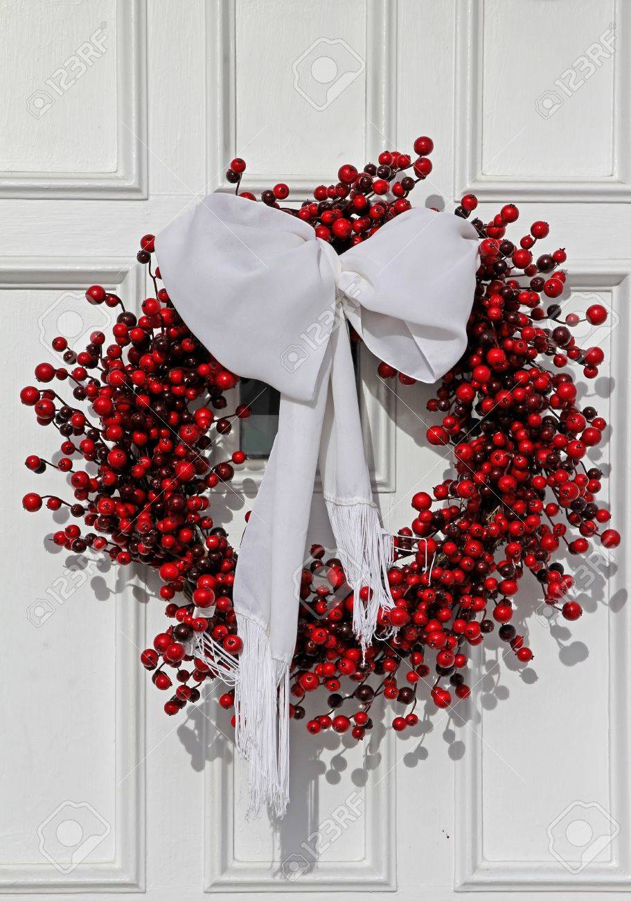 Chicago Usa December 2010 Front Door With Christmas Wreath Stock