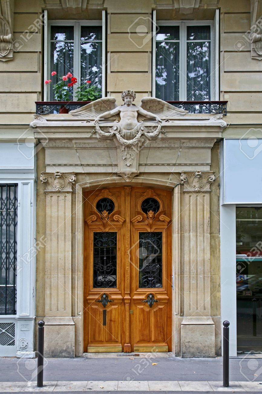 Paris, France, May 2009, Front Door Of Old Apartment Building ...