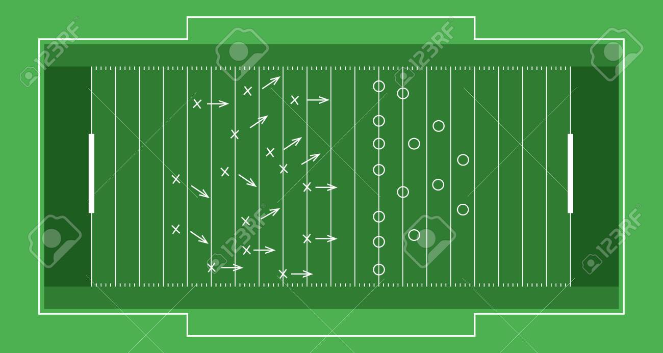 Vector flat rugby field. - 138589025