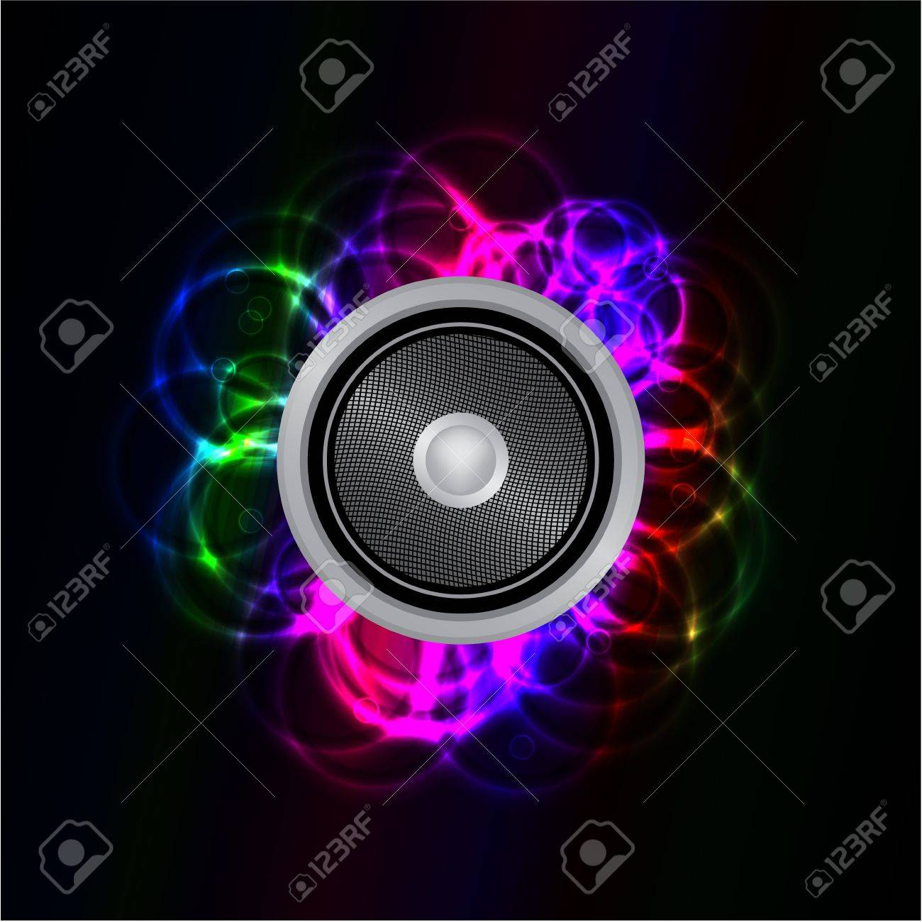 Abstract glowing neon music speaker - 15555490