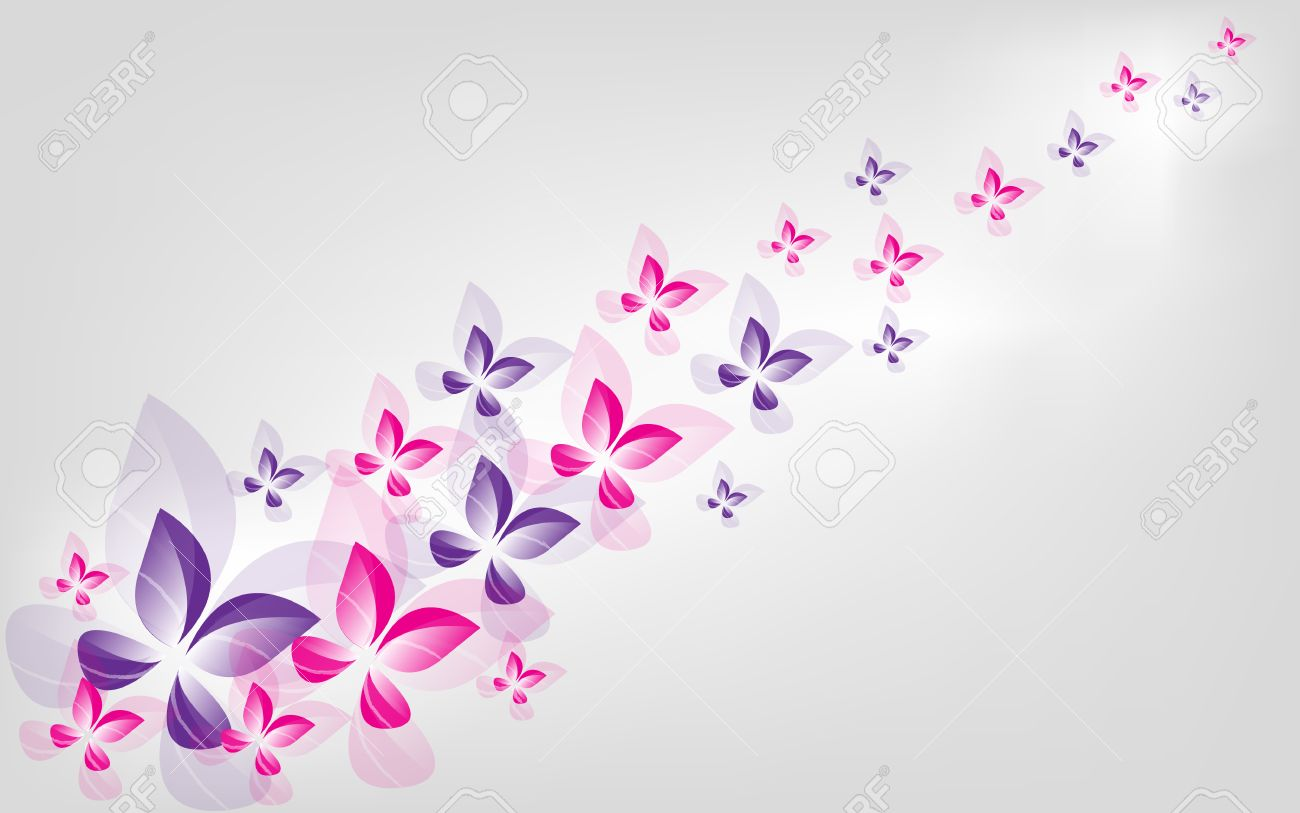 Pink And Purple Butterfly Wallpaper Card Vector Stock
