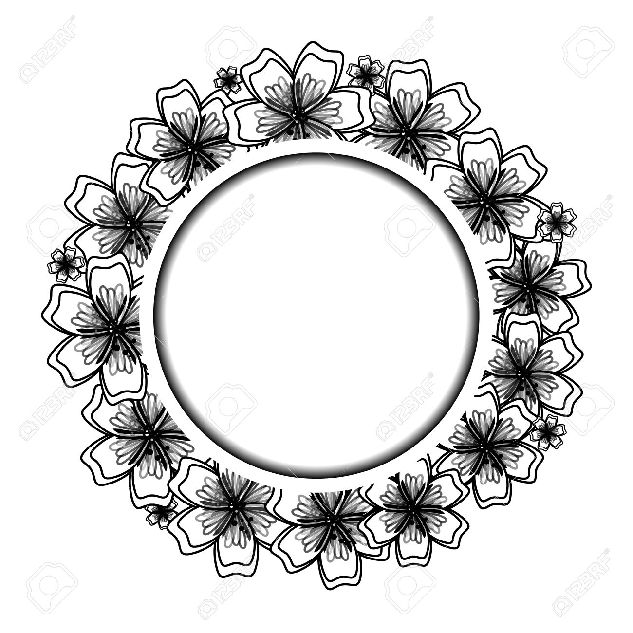 Black And White Floral Frame For Your Design Flower Banner With