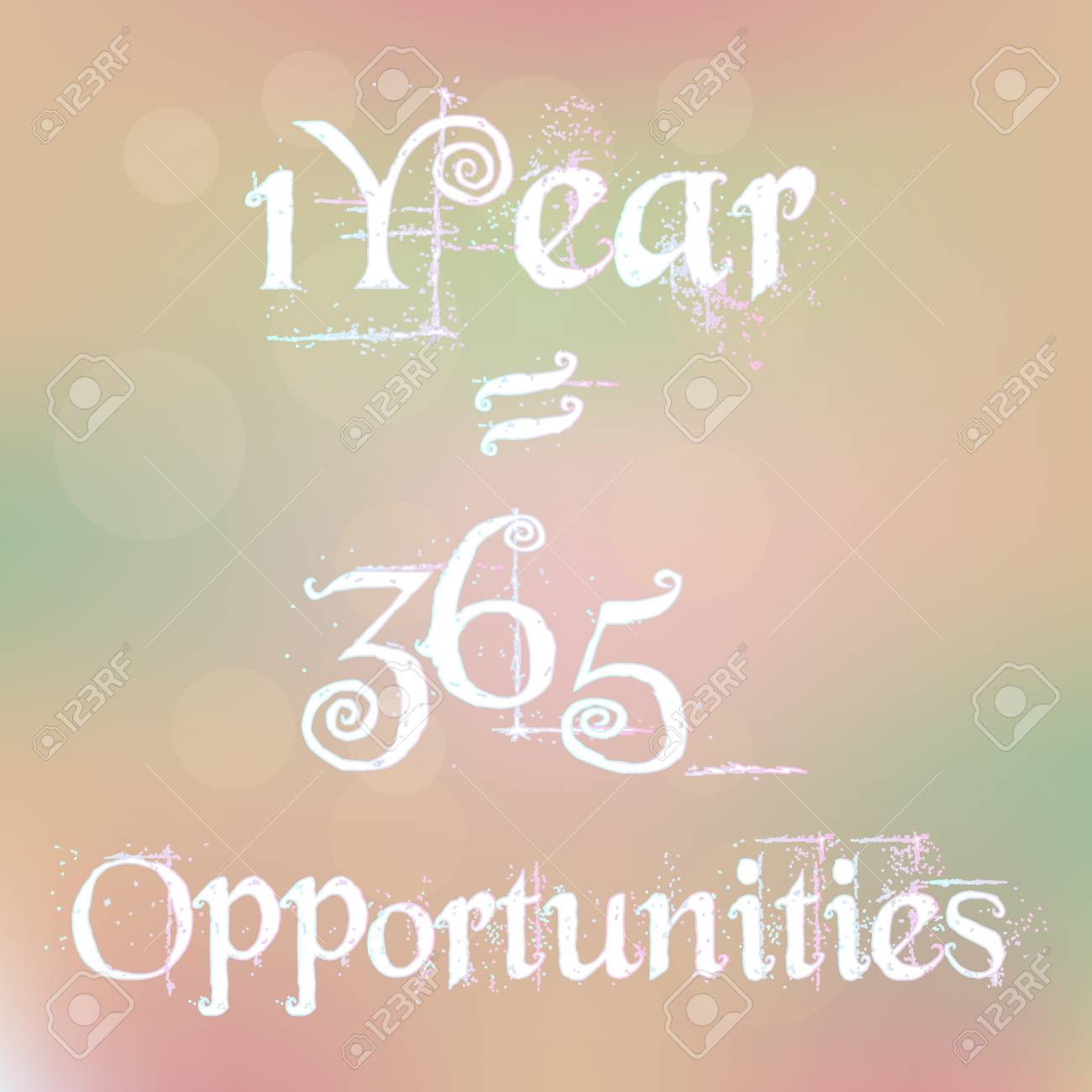 1 Year 1 Year 365 365 Opportunities Magic White Text on Blurred Background Abstract Motivation Quote Poster Typography Vector - 45485669