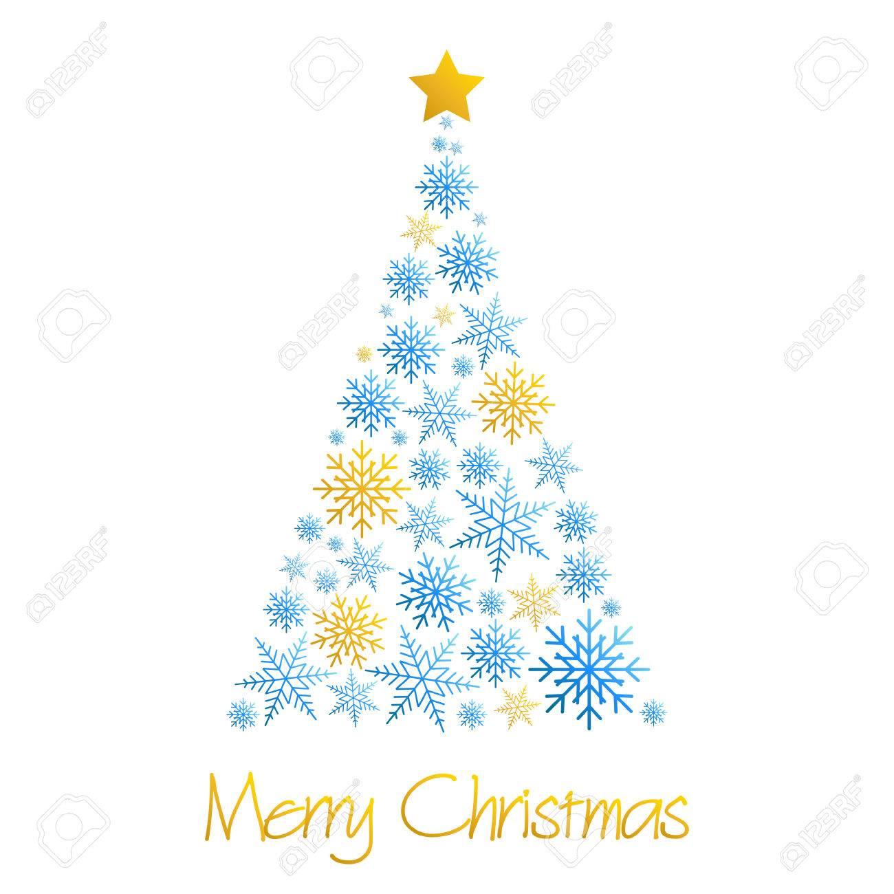 Fröhliche Weihnachtsbaum Aus Schneeflocken Vektor-Wunsch-Karte ...