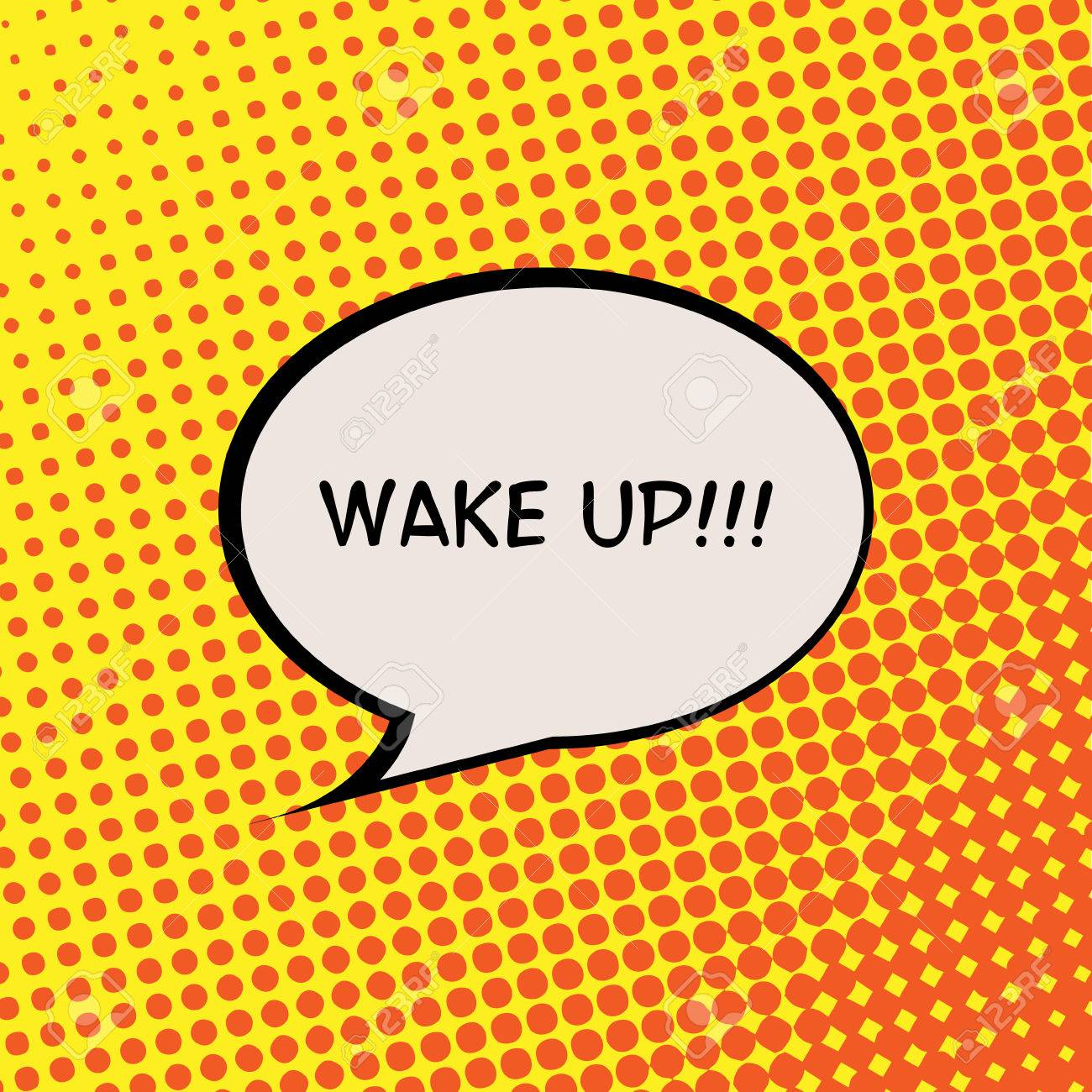 Wake Up Comics Halftone Background Motivation Quote Poster Typography Vector - 47477167