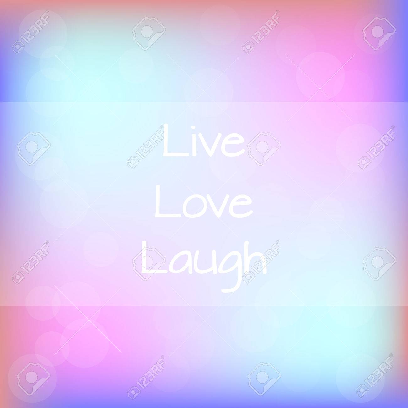Live Love Laugh Rainbow Blurred Background Motivation Quote Poster..