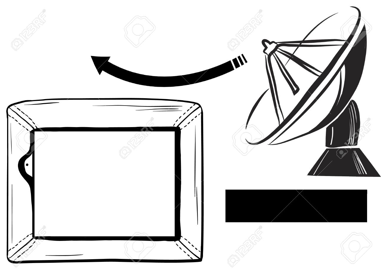 A TV Reception Satellite Dish And TV - Coloring Page For Kids Stock ...