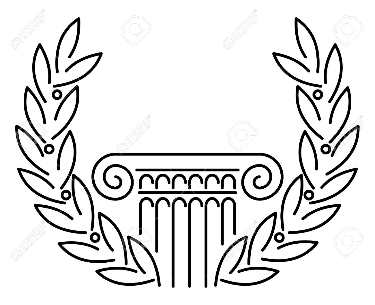 Antique Greek Column and Laurel. illustration. Stock Vector - 8140353