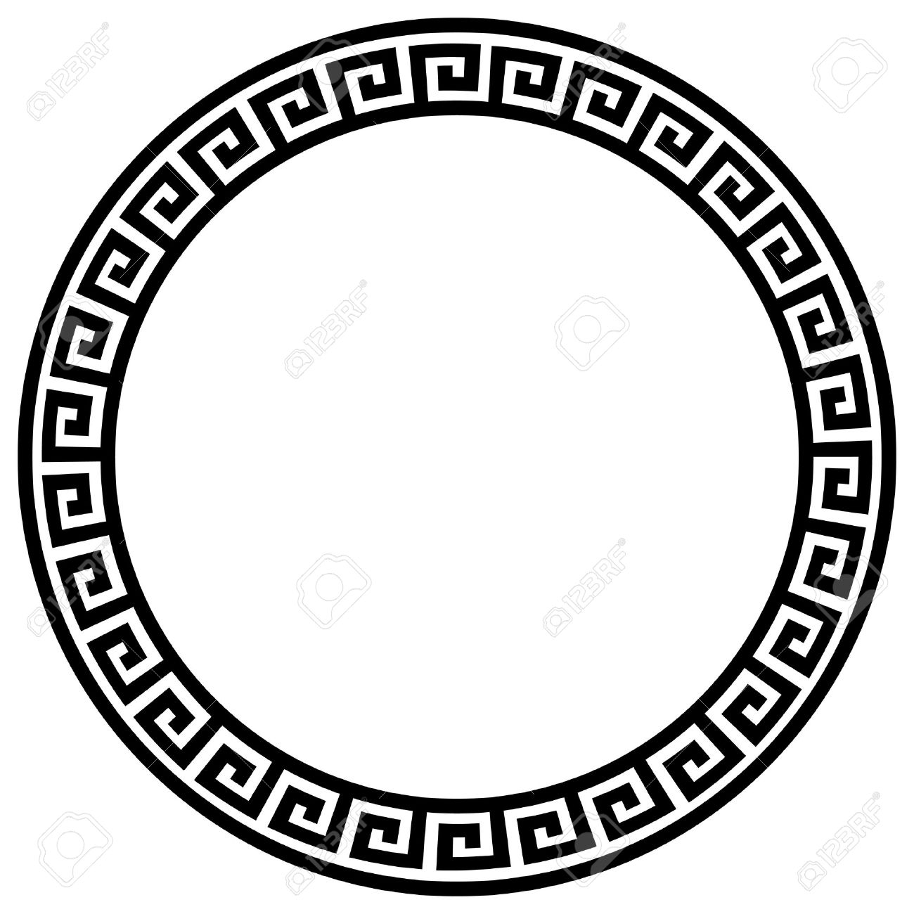 Awesome Round Frame With A Meander. Stock Vector   8351559