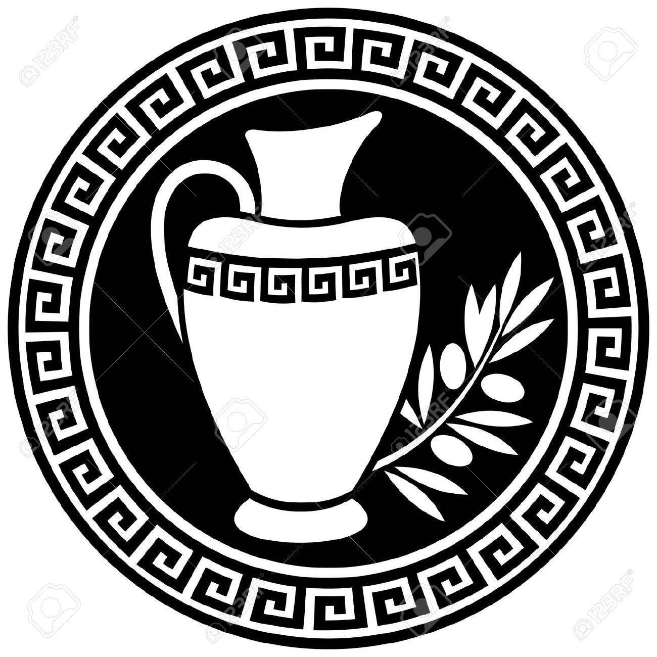 Ancient Greek amphora and olive branch in the frame with a meander. Stock Vector - 8351556