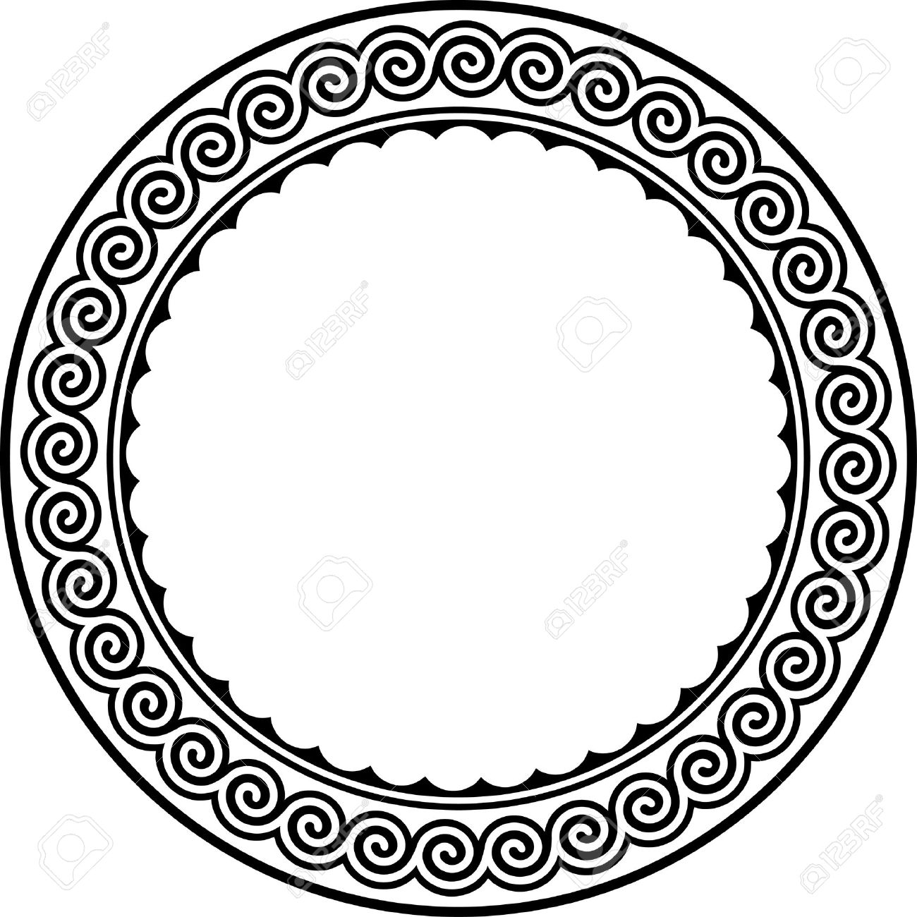 Round Frame With Meander. Stock Vector   8517566