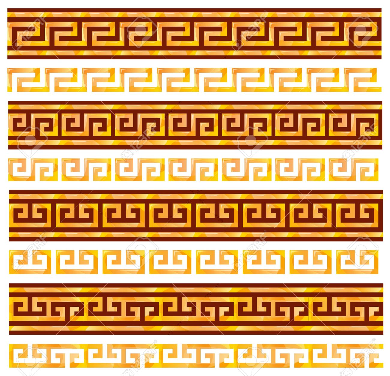 Golden seamless meanders. Ancient Greek ornaments. Stock Vector - 9150959