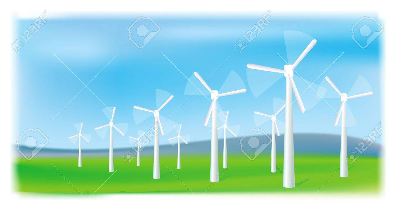 Wind turbines farm. Alternative energy source. - 9251372