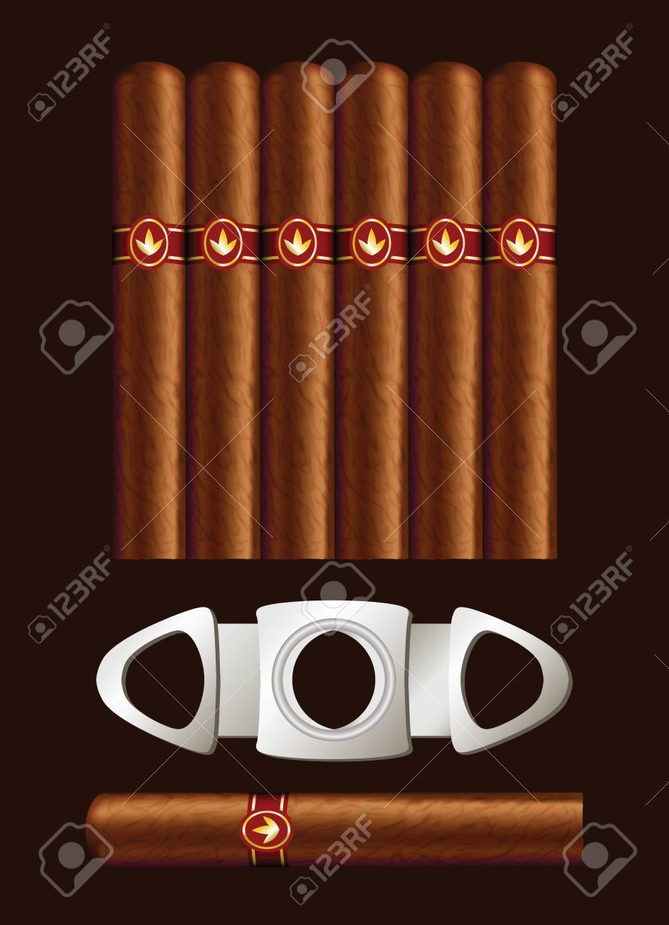 Cigars and guillotine. Vector illustration on black background. Stock Vector - 10762692