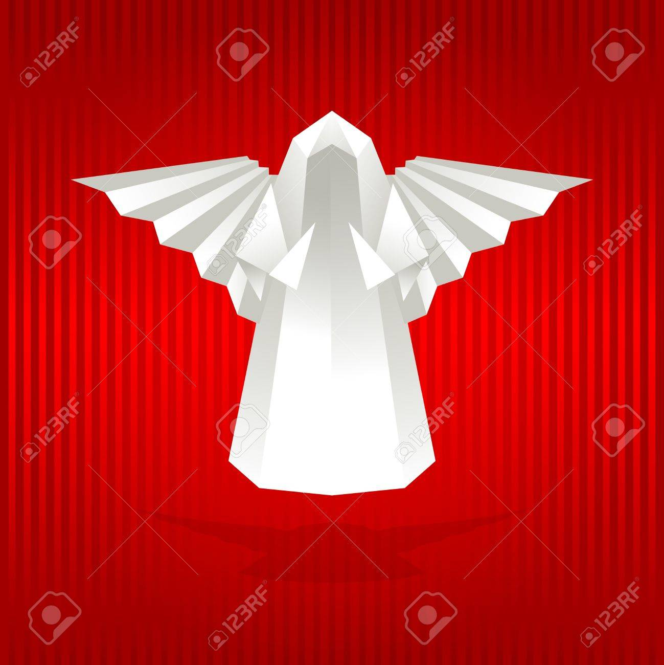 White origami angel on red background. Vector illustration. - 11599433