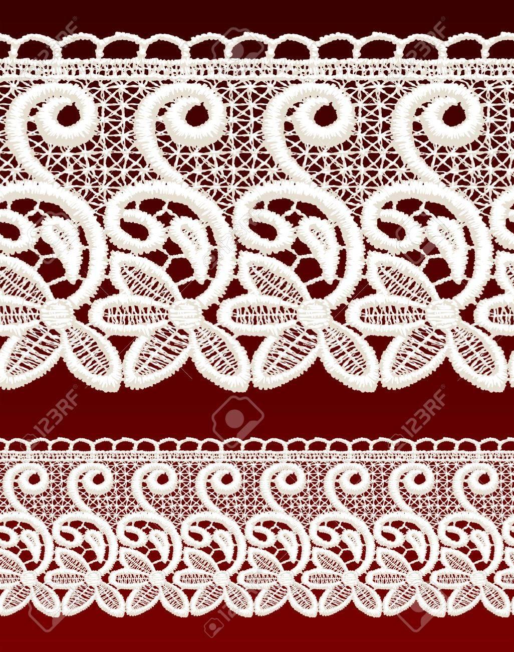 White openwork lace seamless border. Realistic vector illustration. Stock Vector - 16464085