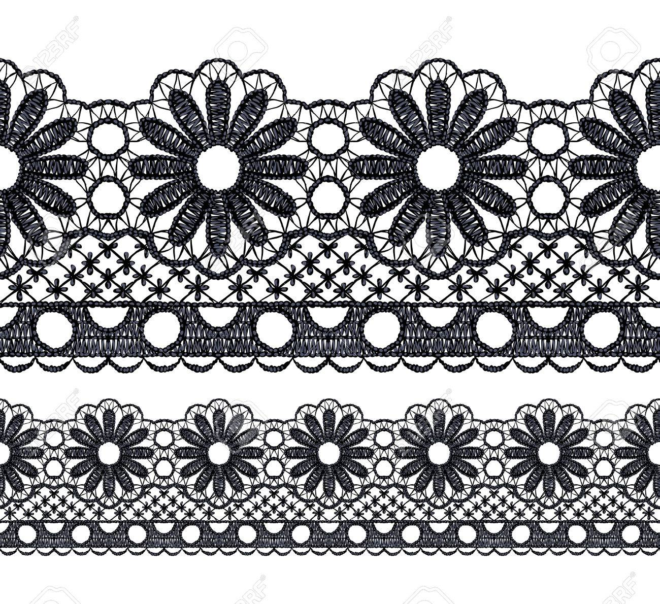 Seamless penwork lace border Realistic illustration. Stock Vector - 22420819
