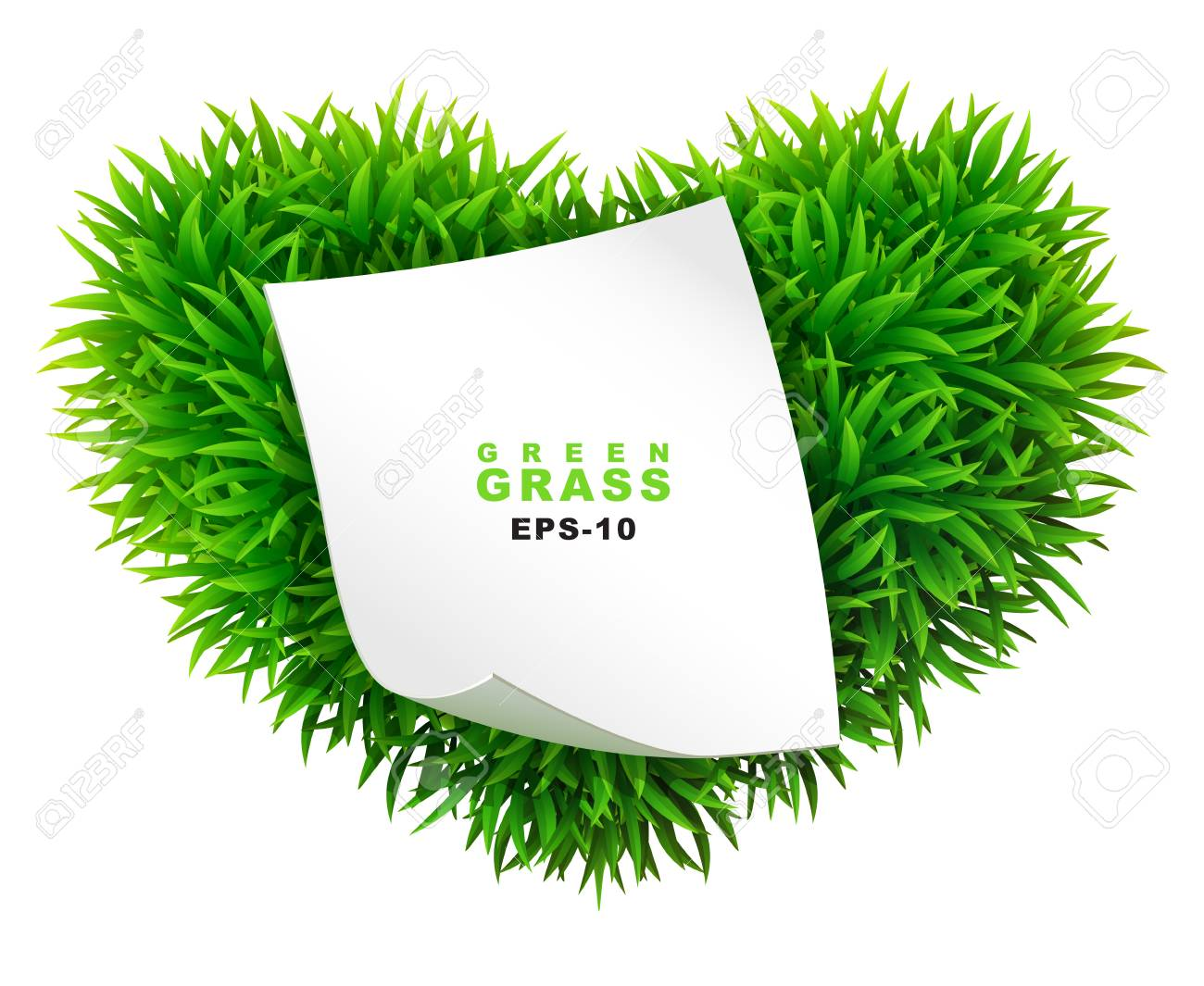 Grassy heart with a clean sheet of paper Stock Vector - 24508868