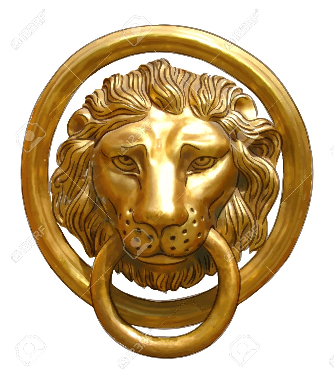 The Door Handle   The Head Of A Lion. Vector Illustration. Stock Vector