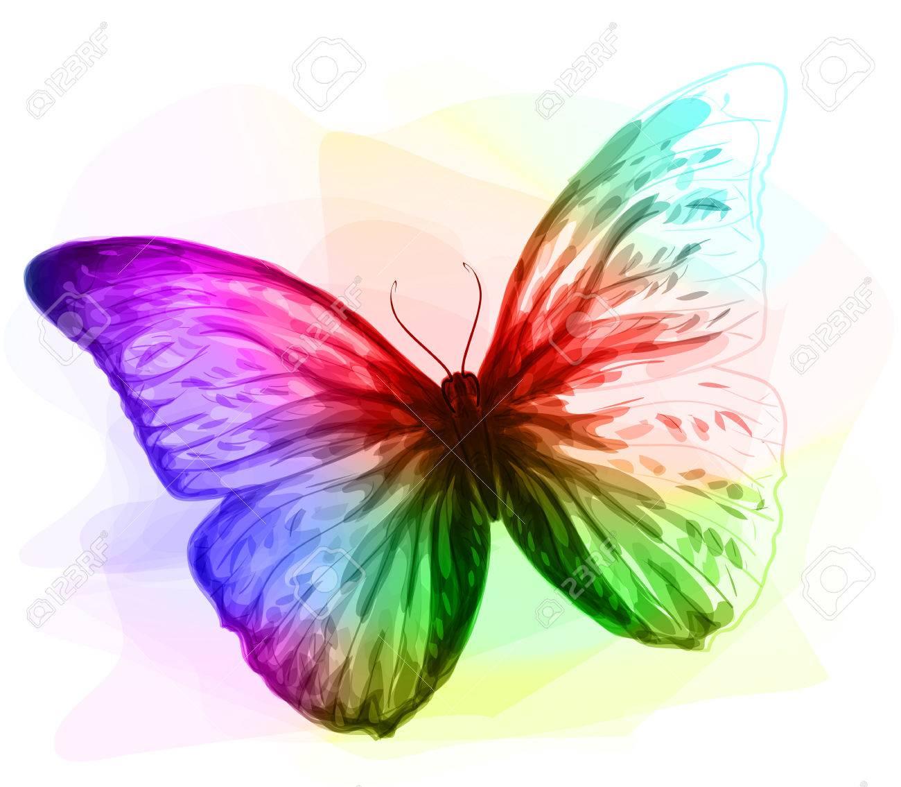 Dessin Papillon En Couleur papillon. iridescen couleurs. unfinished imitation de dessin à l