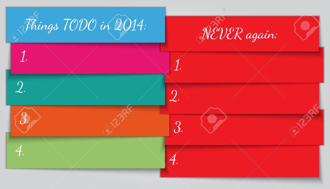 Vector Resolución De Año Nuevo Para Hacer La Plantilla De Lista ...