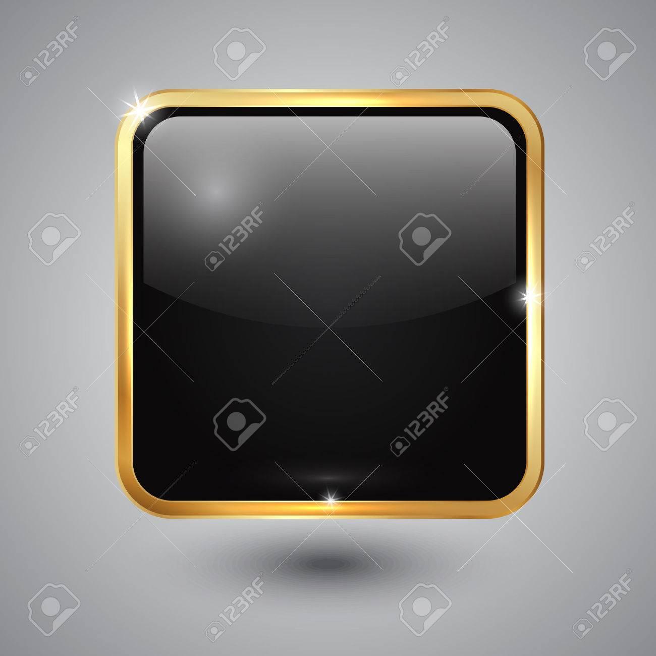 Botón De Cristal Negro Cuadrado Con Esquinas Redondeadas Y El Botón ...