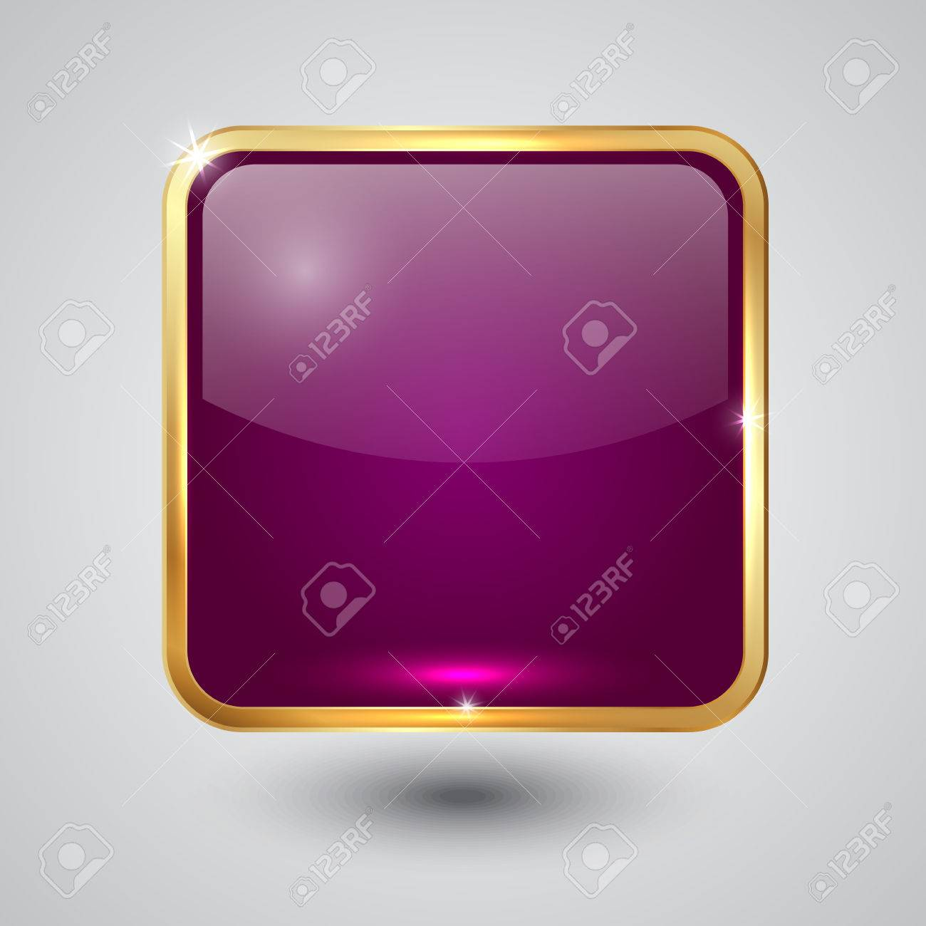 cdffa474df0 pink glass square button with round corners and golden frame Stock Vector -  25637266