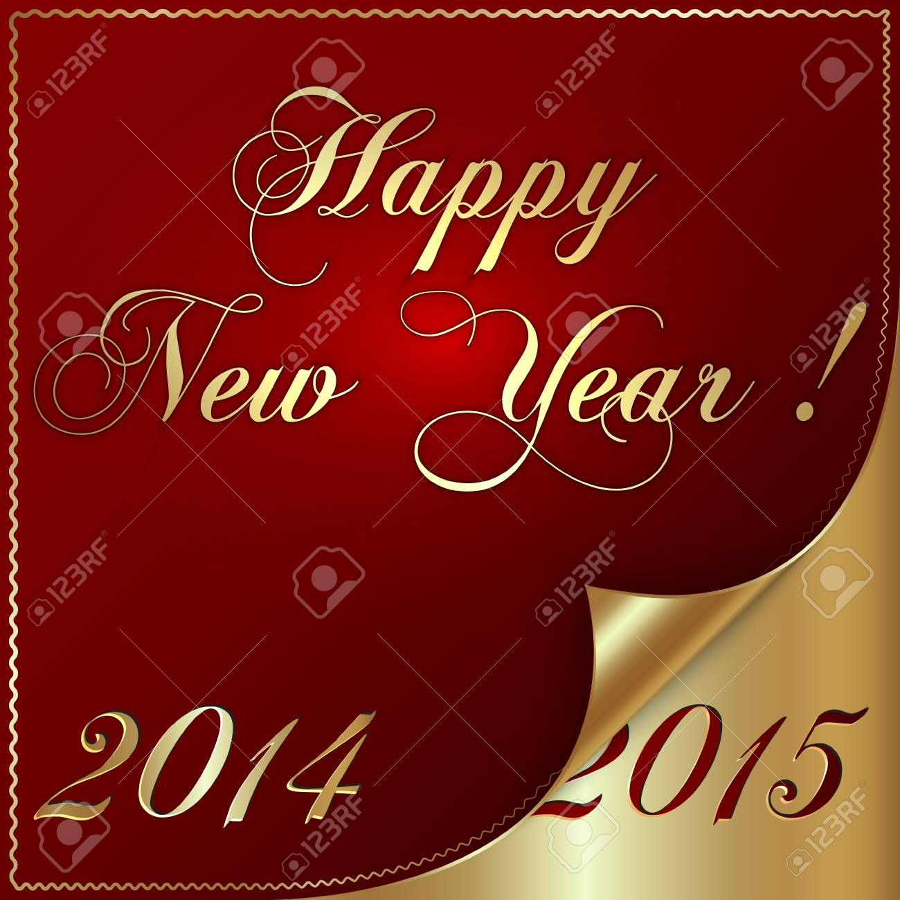 Illustration Of 2015 New Year Greeting With Curled Corner Royalty