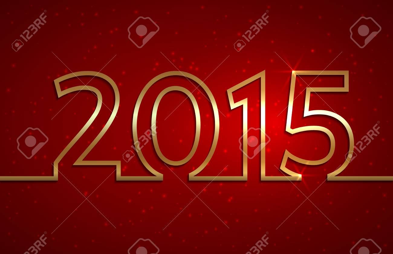Vector Illustration Of 2015 New Year Red Greeting Billboard With