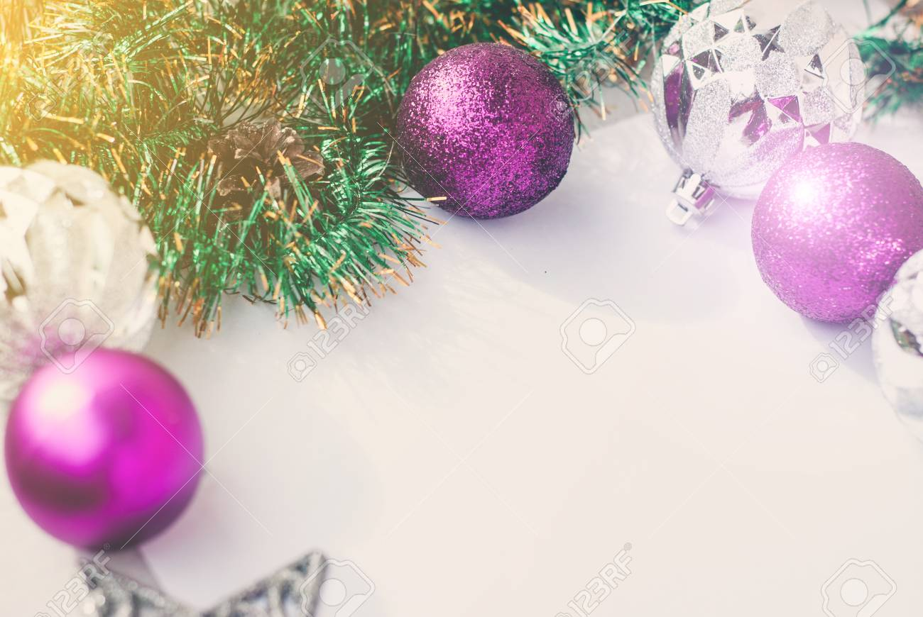 New Year Theme Christmas Tree Purple And Silver Decorations Stock Photo Picture And Royalty Free Image Image 109716988
