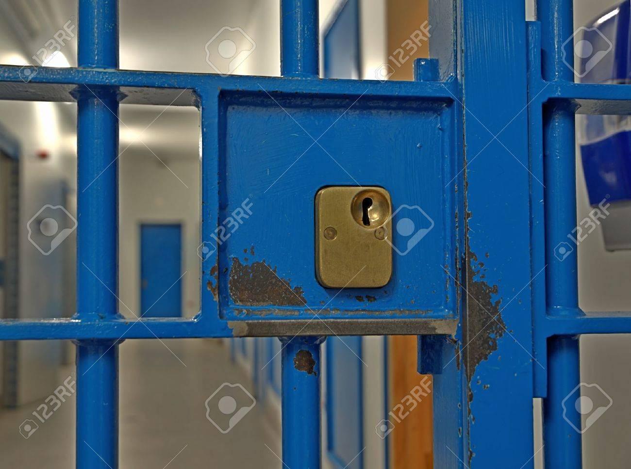 Prison door lock close up Stock Photo - 11786607