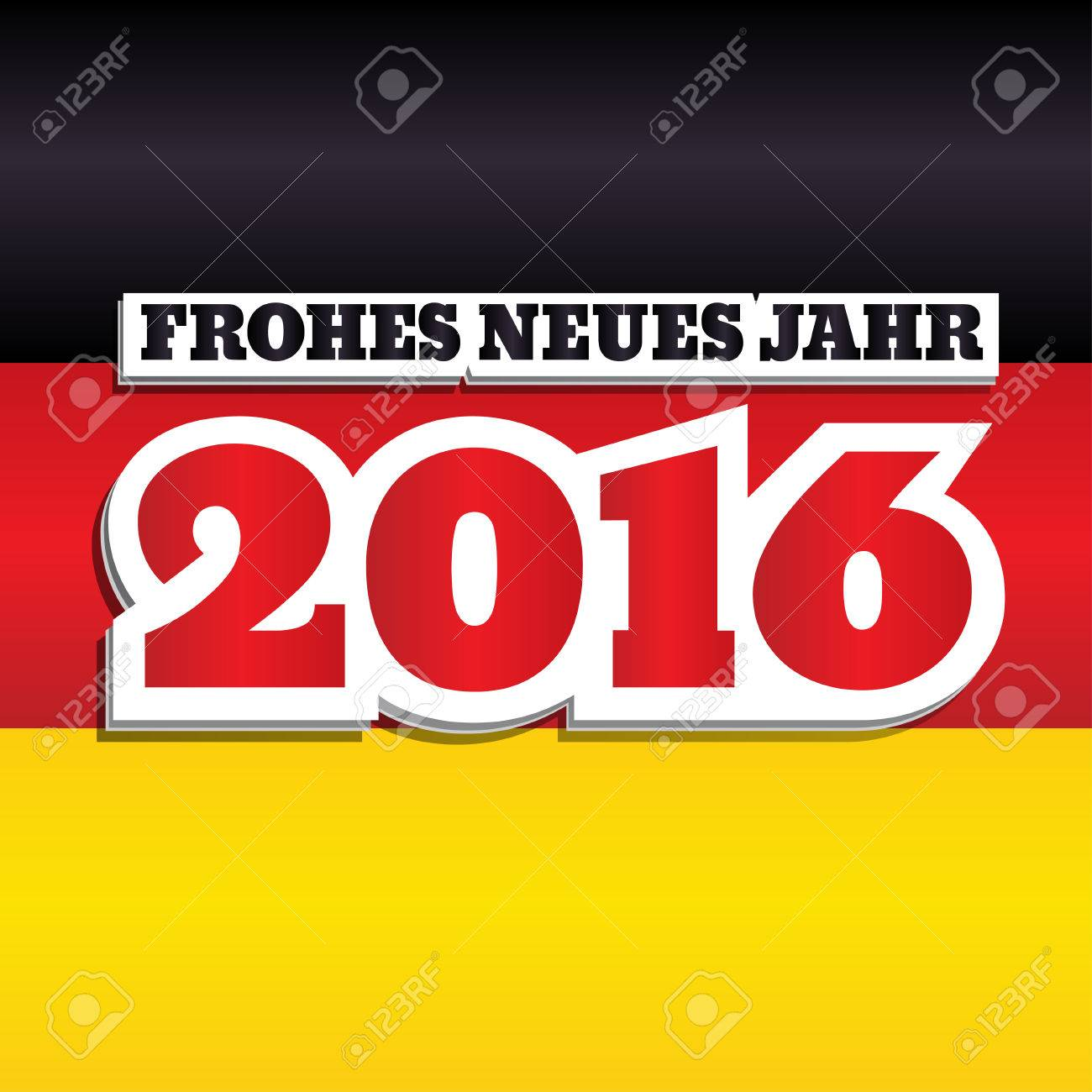 Vector New Year 2016 Greeting Card Design With Text In German