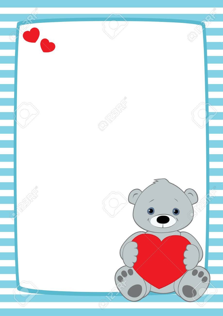 Vector Frame With Light Blue And White Stripes. Grey Teddy Bear ...