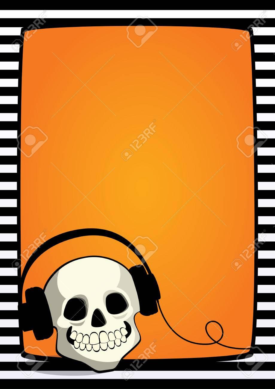 Fondo Naranja De Halloween Vector Con El Marco De Rayas Blanco Y ...