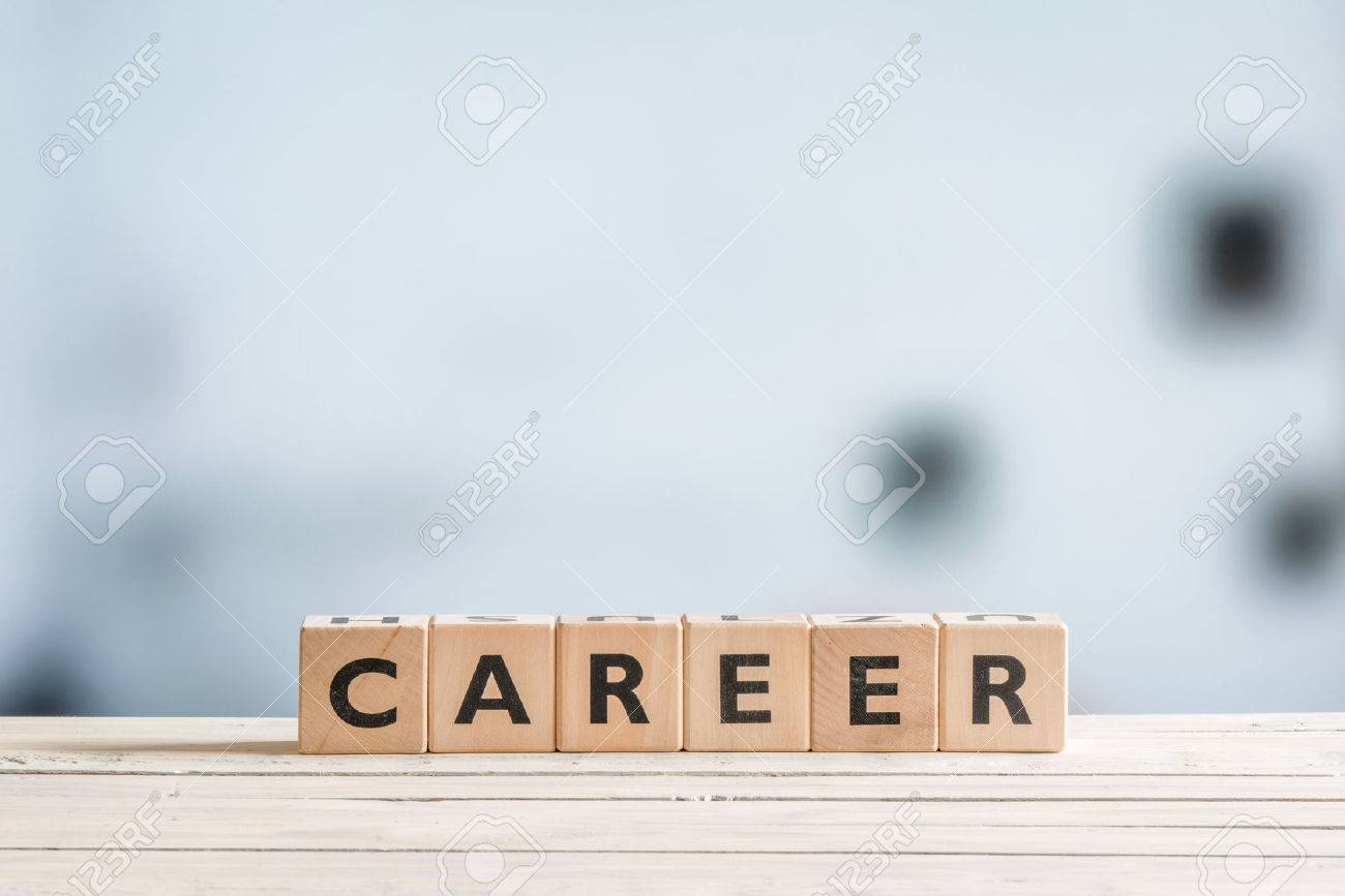 Career sign on a wooden desk in an office - 54123239
