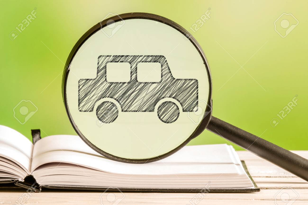Car Search With A Pencil Drawing Of An Automobile In A Magnifying ...