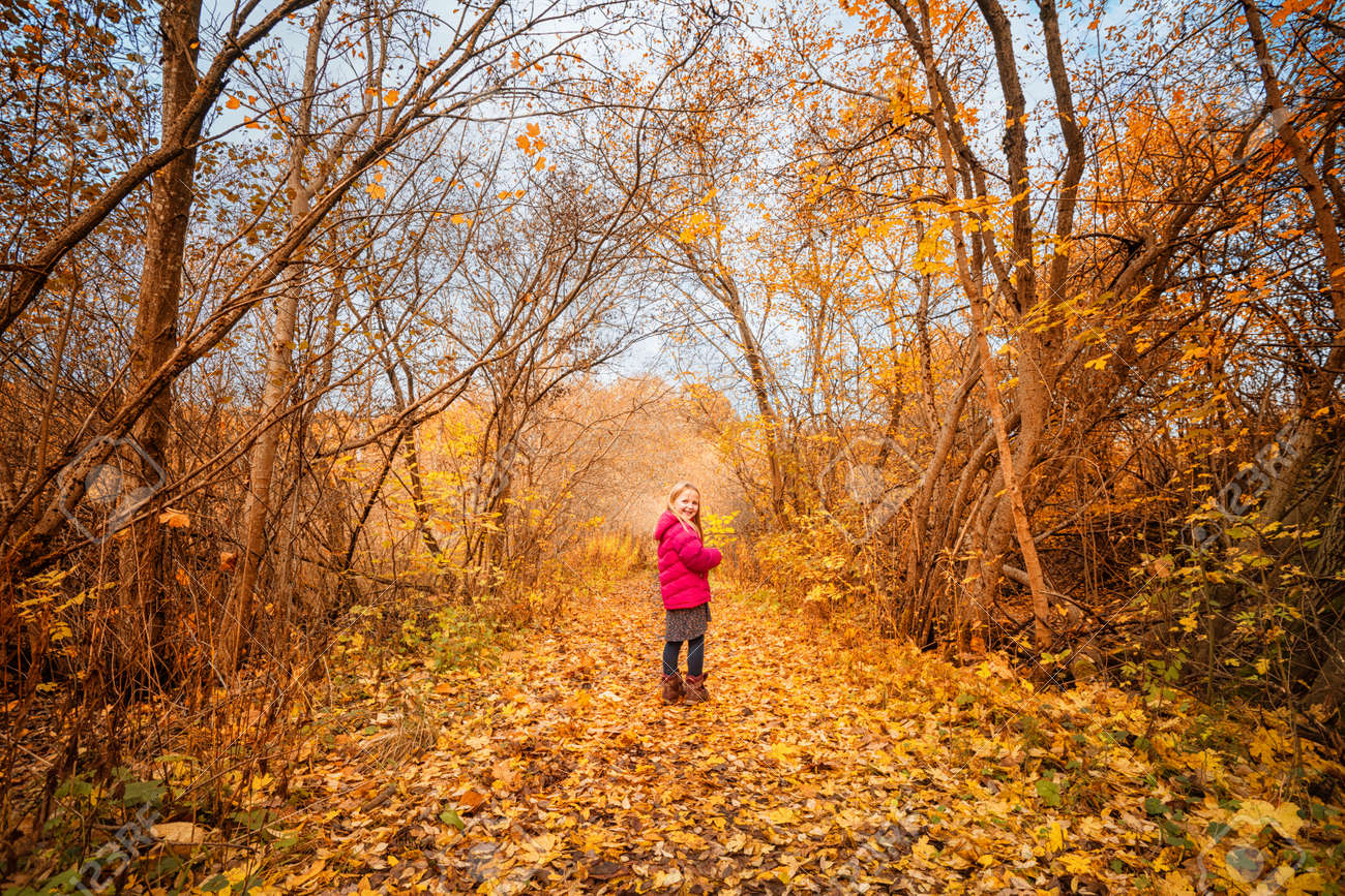 Happy girl in a colorful yellow forest in the fall wearing a pink jacket and smiling - 158651930